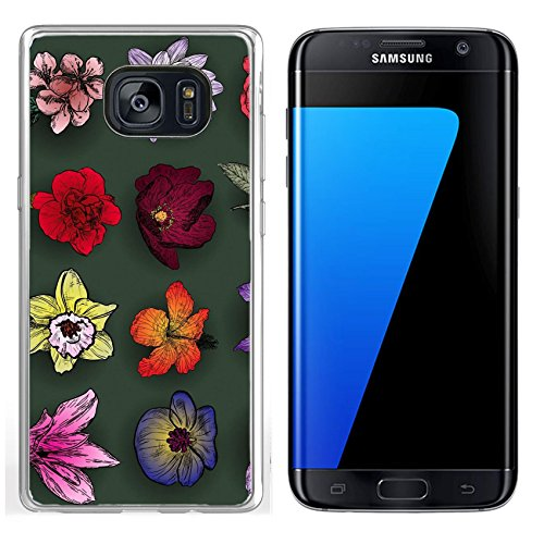 Luxlady Samsung Galaxy S7 Edge Clear case Soft TPU Rubber Silicone IMAGE ID: 41494075 Set of flowers rose bird cherry tree lilac clematis orchid lily waterlily lotus hibiscus (Clematis Lily)