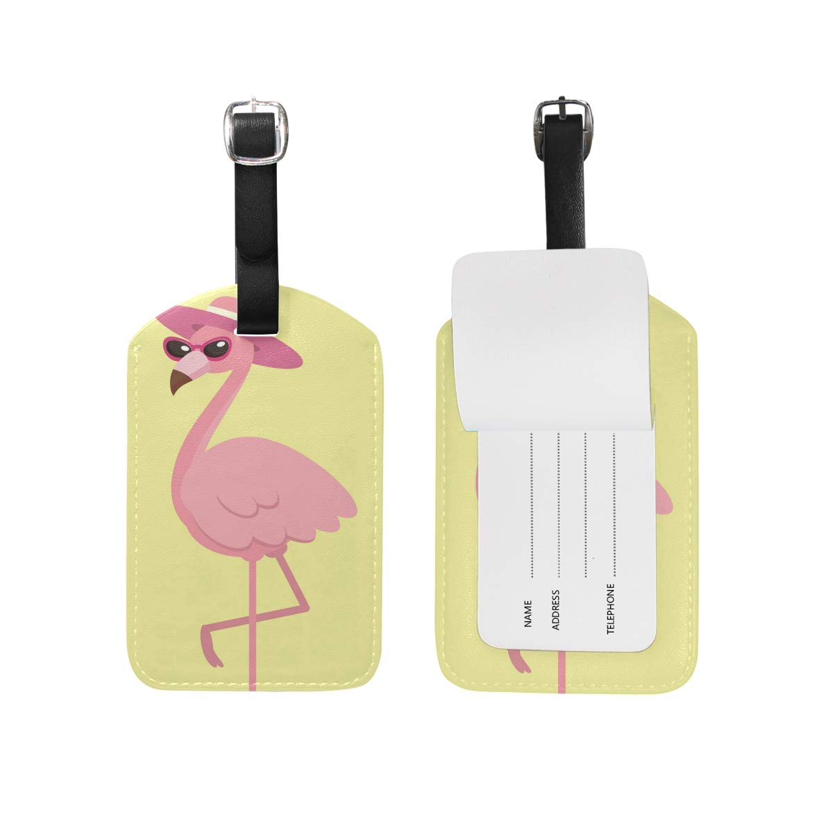 Saobao Travel Luggage Tag Cute Pink Flamingo PU Leather Baggage Travel ID