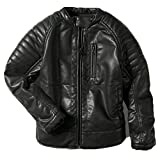 LJYH Boys Faux Leather Jacket Children's Collar Motorcycle Leather Coat T4-5 Black