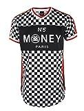 SCREENSHOT SCREENSHOTBRAND-S11803 Mens Hipster Hip-Hop Premiun Tees - Luxury Longline Checker Print T-Shirt Money N55-Red-Large