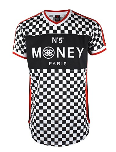 SCREENSHOT SCREENSHOTBRAND-S11803 Mens Hipster Hip-Hop Premiun Tees - Luxury Longline Checker Print T-Shirt Money N55-Red-Large by SCREENSHOT