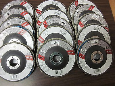 """15pc ASSORTMENT 4.5"""" 4-1/2"""" FLAP DISCS ANGLE GRINDER WHEELS 40 60 80 GRIT 7/8"""" from GOLIATH INDUSTRIAL TOOL"""