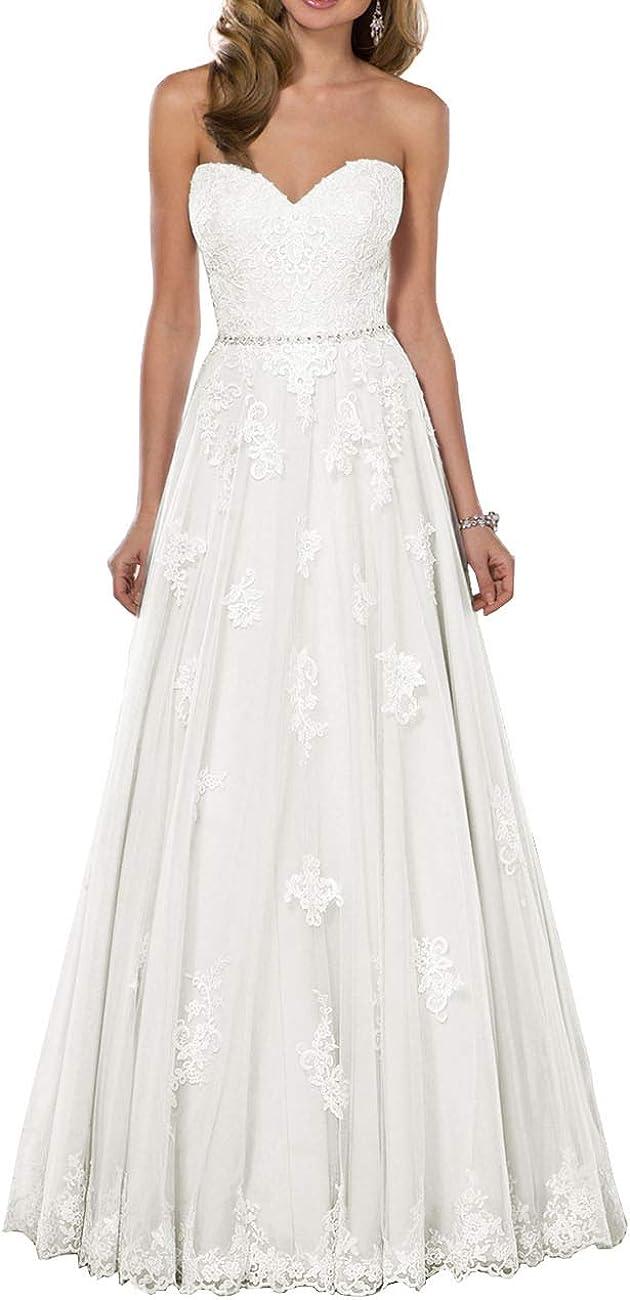 HUINI Brautkleider Hochzeitskleider Boho Lang Spitzen A-Linie Brautmode  Standesamtliche Brautkleid Groß Größen