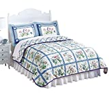 Collections Etc Summer Breeze Floral Lattice Reversible Lightweight Quilt, Blue, King