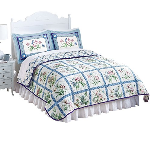 Collections Etc Summer Breeze Floral Lattice Reversible Lightweight Quilt - Seasonal Décor, Blue, King