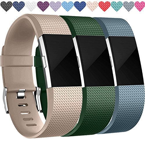 Wepro Replacement Bands for Fitbit Charge 2, 3-Pack Fitbit