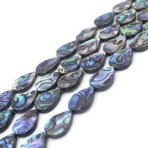 10x14mm Natural Flat Teardrop Abalone Shell Semi Precious Gemstone Beads for Jewelry Making (Teardrop Shell Beads)