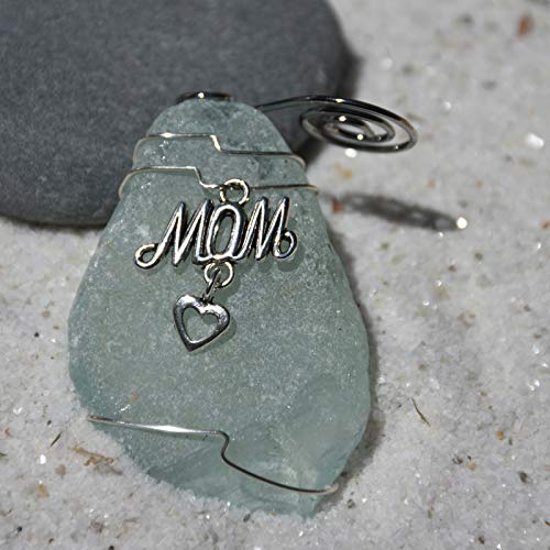 Custom Surf Tumbled Sea Glass Ornament with a Silver Mom Heart Charm - Choose Your Color Sea Glass Frosted, Green, and Brown - Made to Order