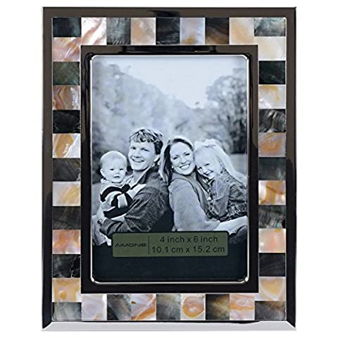 AIMONE Photo Frame Mother of Pearl Shell Mosaic Naturals Multi Sea Shells Decor, Made to Display 4x6 Inch - Mother Of Pearl Wall Art