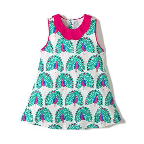 Hongshilian Girls Casual Cotton Short-Sleeved Cute Cartoon T-Shirt Dress(7T,Peacock & Green) ()