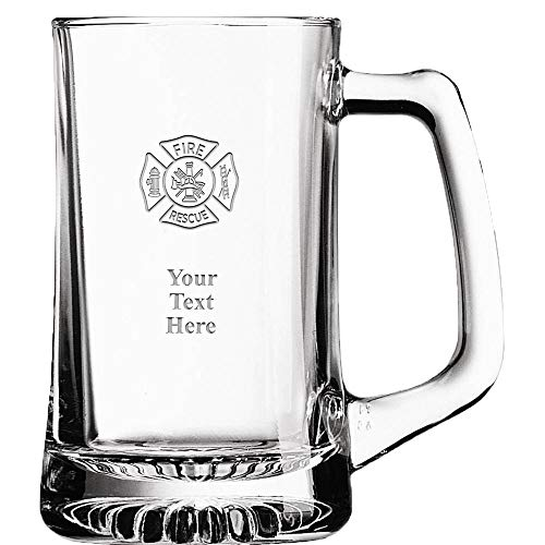 (Fire Rescue Custom Beer Glass, 16 oz Personalized Fireman Beer Mug Gift With Your Own Engraving Text)