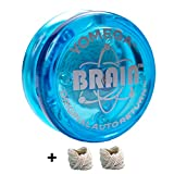 Yomega The Original Brain - Professional Yoyo For Kids And Beginners, Responsive Auto Return Yo Yo Best For String Tricks + Extra 2 Strings & 3 Month Warranty (blue)