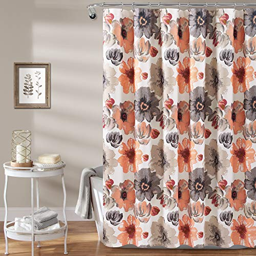 Lush Decor Leah Shower Curtain-Bathroom Flower Floral Large Blooms Fabric Print Design, x 72