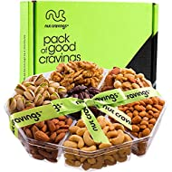 Gourmet Gift Basket, Nut Tray (Large 7 Section) - Healthy Food Edible Arrangement for Easter, Mothers & Fathers Day, Family Birthday Platter, Care Package Snack Box for Women & Men - Prime Delivery
