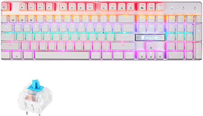 HR teclado de juego, teclado multimedia con cable con interruptor USB azul teclas combinadas retroiluminación teclado ergonómico de metal para ordenador portátil PC teclado teclado de juego portátil: Amazon.es: Electrónica