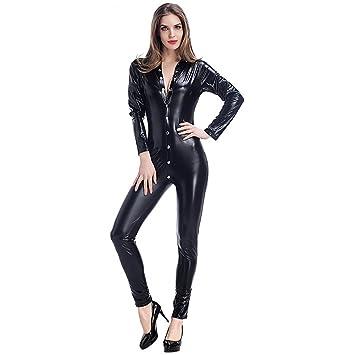 CDSS Catsuit de Cuero sintético Clubwear DS Latex Cat ...