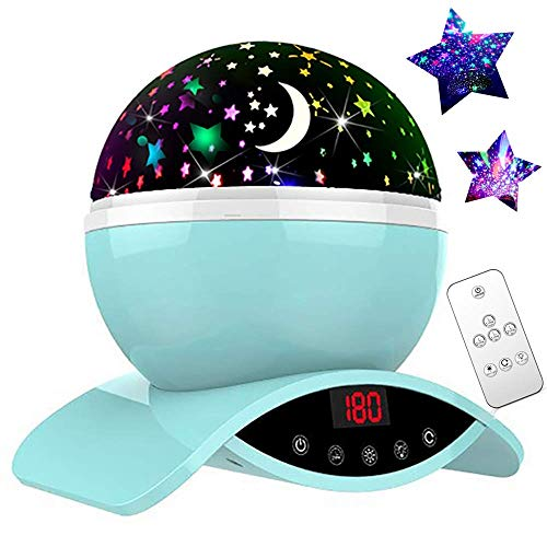 YSD Night Lighting Lamp, Modern Star Rotating Sky Projection, Romantic Star Projector Lamp for Kids, USB Rechargeable & Remote Control, Best Gifts for Kids,Bedroom(Blue) ()