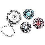 MJARTORIA Floral Interchangeable Snap Button Centerpiece Eye Glass Holding Magnetic Brooch