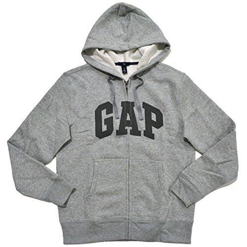 (GAP Mens Fleece Arch Logo Full Zip Hoodie (Grey, Large) [Apparel])