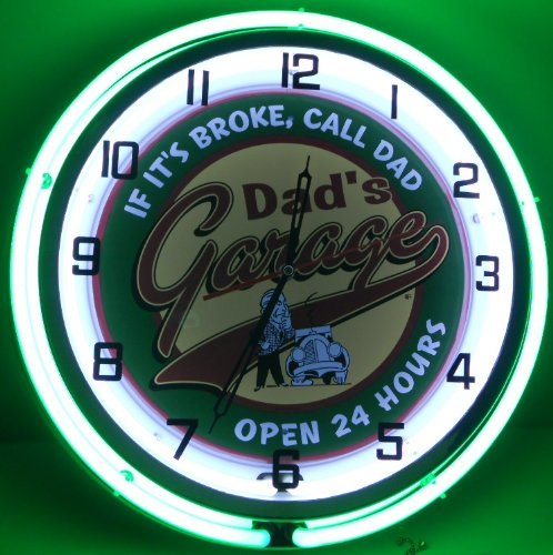DAD'S GARAGE 18'' DOUBLE NEON LIGHT WALL CLOCK MAN CAVE WORKSHOP TIN METAL SIGN GREEN by Dad's Garage