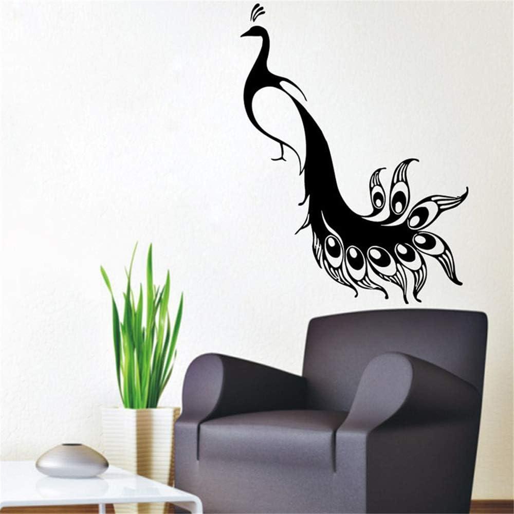 yiyiyaya Modernas Pegatinas de Pared Decoración para el Hogar Pavos Reales Pájaros Animales PVC Tatuajes de Pared Etiqueta de la Sala de Estar Home Art Mural púrpura 78x59 cm