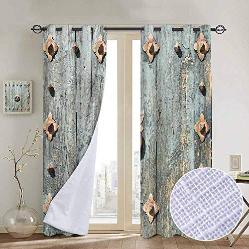 NUOMANAN Window Blackout Curtains Rustic,European Cathedral with Rusty Old Door Knocker Gothic Medieval Times Spanish Style,Turquoise,for Room Darkening Panels for Living Room, Bedroom 120