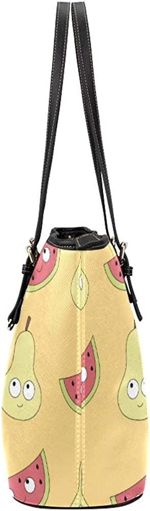 Modern Hand Bags Summer Cute Fashion Fruit Pear Leather Hand Totes Bag Causal Handbags Zipped Shoulder Organizer For Lady Girls Womens Large Storage Tote