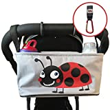 Stroller Organizer Baby Diaper Bag with Mobile Phone Holder – Universal Fit For Strollers – Includes Handy Buggy Hook for Bags - Ladybug Red