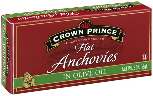 Crown Prince Flat Anchovies in Olive Oil, 2-Ounce Cans (Pack of 12) -