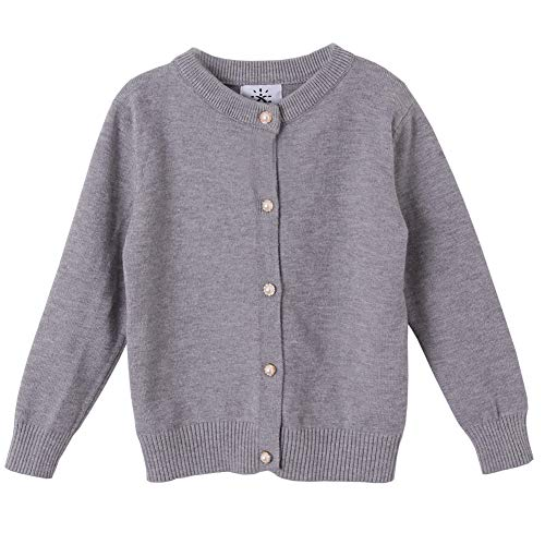 SMILING PINKER Girls Cardigan Sweater School Uniforms Button Long Sleeve Knit Tops(4-5,Gray)
