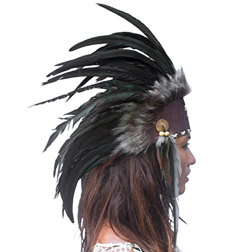 Unique Feather Headdress- Native American Indian Inspired- Handmade by Artisan Halloween Costume...
