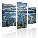 Alonline Art - Skyline of Canada Split 3 Panels Framed Stretched Canvas (100% Cotton) Gallery Wrapped - Ready to Hang | 39''x26'' - 99x66cm | 3 Panels Combination Framed Decor Giclee Framed Wall Art