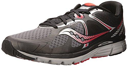 Saucony Mens Kinvara 6 Running Shoe, Negro/Gris/Rojo, 37.5 D(M) EU/4 D(M) UK