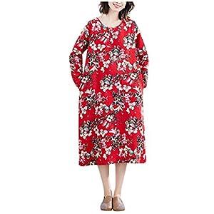 jerferr Ethnic Ladies Vintage Cotton Linen Flax Loose Tunic Floral Print Long Dress