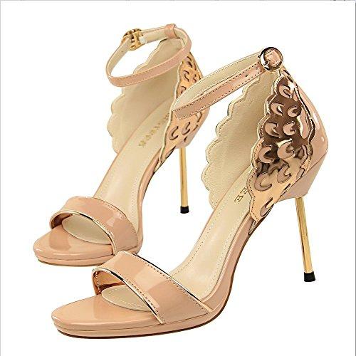 Liangxie Tacones Abierta Sandalias Altos Desnudo Señoras Tobillo Lentejuelas Novia Correas Nupcialesxiaoqi Plataforma De Peeking Zapatos Con pwfrpq