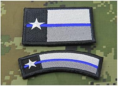 2 x Texas TX Estado bandera fina línea azul disfraz de aplicación de la ley Policía SWAT moral parche Hook Backing: Amazon.es: Jardín