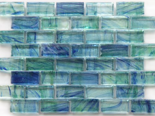 Mirabelle Glass Tile Aqua Blue brick - Recycled Tile