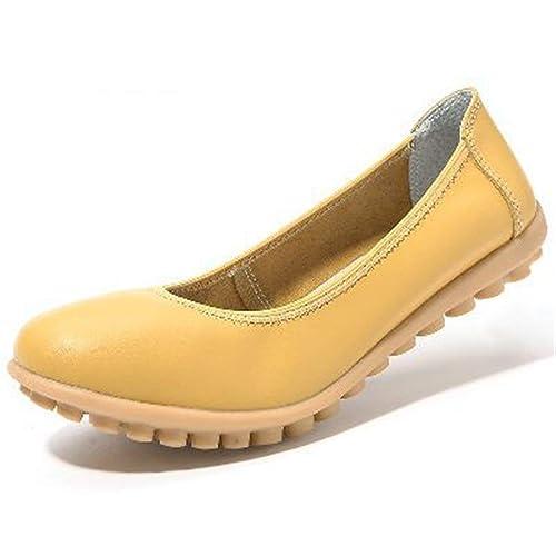 Zapatos De Mujer Mocasines Ballet Slip-On Cuero Trabajo De Oficina Punta Redonda Y Redonda Zapatos Casual para Mujeres: Amazon.es: Zapatos y complementos