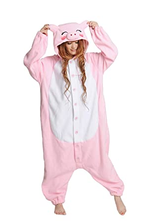 7fa14f323a87 Amazon.com  Pink Pig Onesie for Adult and Teenagers. Halloween Animal  Kigurumi Pajama Costume for Men and Women  Clothing