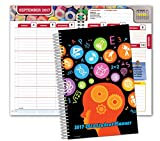 Dated Middle School or High School Student Planner for Academic Year 2019-2020 (Matrix Style - 5.5'x8.5' - Subjects Cover) - Bonus Ruler/Bookmark and Planning Stickers
