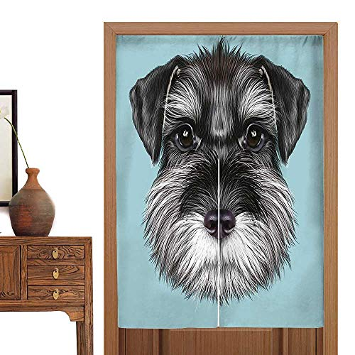 vanfan Doorway Curtain Tapestry Baby Schnauzer Blue Background Puppy Portrait Home Decoration Tapestry33.5 Wx33.5 L