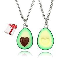 Colgante de cadena 2 piezas BFF Aguacate verde para parejas collares de amistad de amor Mejor amigo Haslkette, collares…