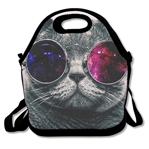 (Cool Cat Sunglasses Portable Lunch Box Bag Insulated Waterproof Fashionable Storage Handbag for Women Adults)