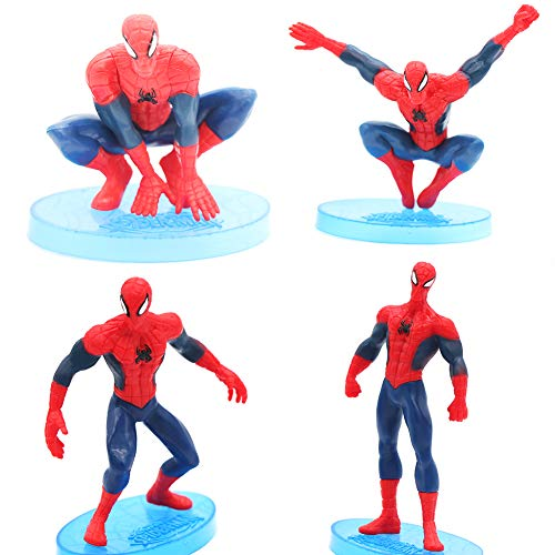 Cartoon Mini Spiderman Figures Cake Topper Solid PVC Movie Heroes For Children Birthday Cake Decoration -