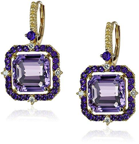 Judith Ripka Lila Lavender Amethyst Asscher and Diamond Drop Earrings (1/10cttw, G-H Color, SI1 Clarity)