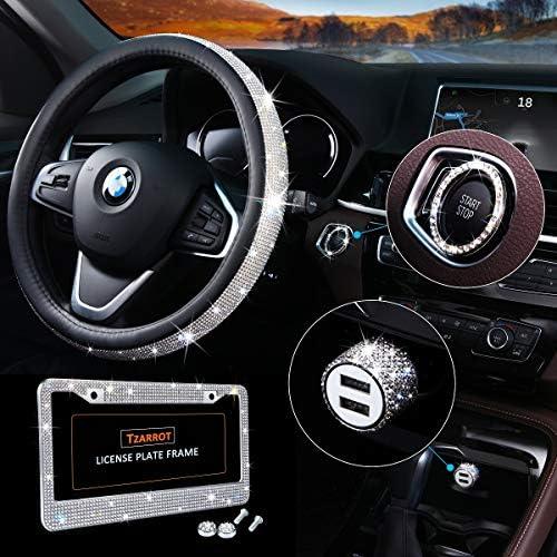 Bling Car Accessories Set Bling Steering Wheel Cover for Women Universal Fit 15 Inch Bling License Plate Frame for Women Bling Car USB Charger(Fast Charging) Bling Car Decor Set 4 Pack