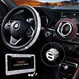 Bling Car Accessories Set, Bling Steering Wheel Cover for Women Universal Fit 15 Inch, Bling License Plate Frame for Women, Bling Car USB Charger(Fast Charging), Bling Car Decor Set 4 Pack