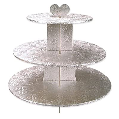 Enjay Cupcake Stand, 8.5 by 12.5 by 14.5-Inch, Silver