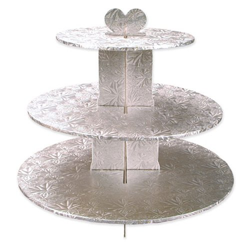 Enjay Cupcake Stand, 8.5 by 12.5 by 14.5-Inch, Silver ()