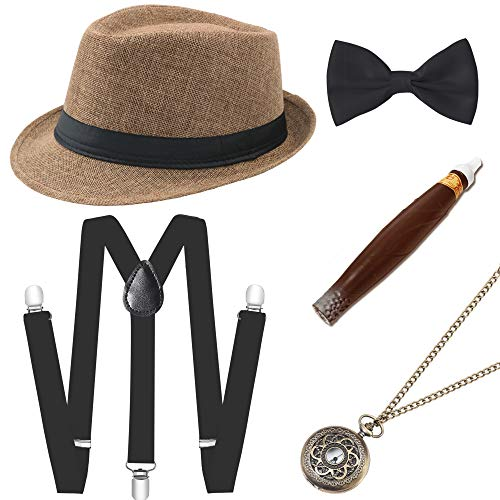 BABEYOND 1920s Mens Gatsby Costume Accessories Set 30s Panama Hat Elastic Y-Back Suspender Pre Tied Bow Tie Pocket Watch and Plastic Cigar (Camel Set) -